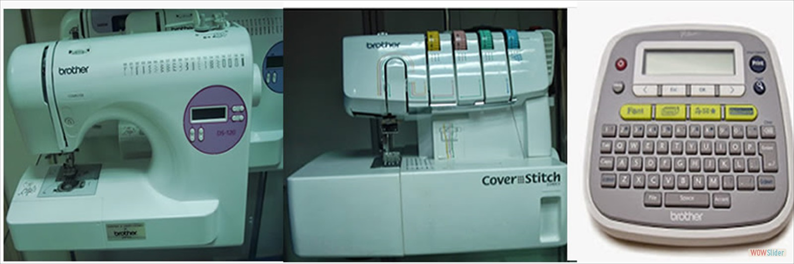 BROTHER  DS 120 ZIG ZAG, BROTHER 2340CV COVER STITCH MACHINE AND BROTHER LABLEL PRINTER  P-touch D200